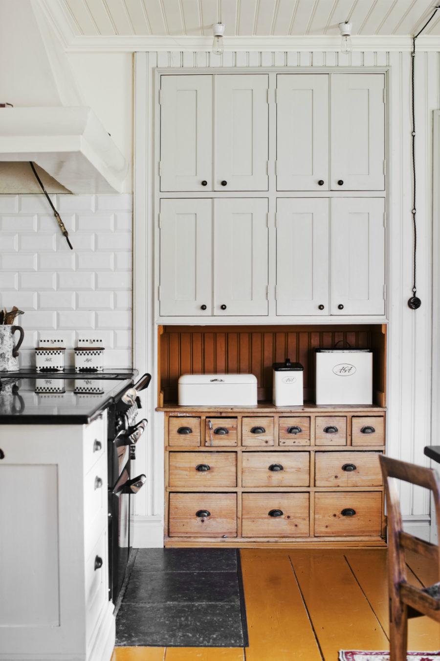 Small Unique Kitchen With Repurposed Cabinet