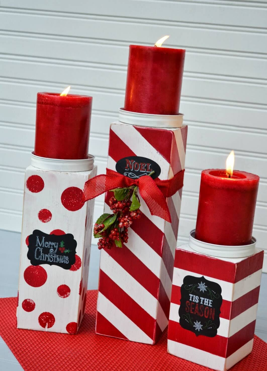 Festive Patterned Gift Box Candle Pedestals thewowdecor