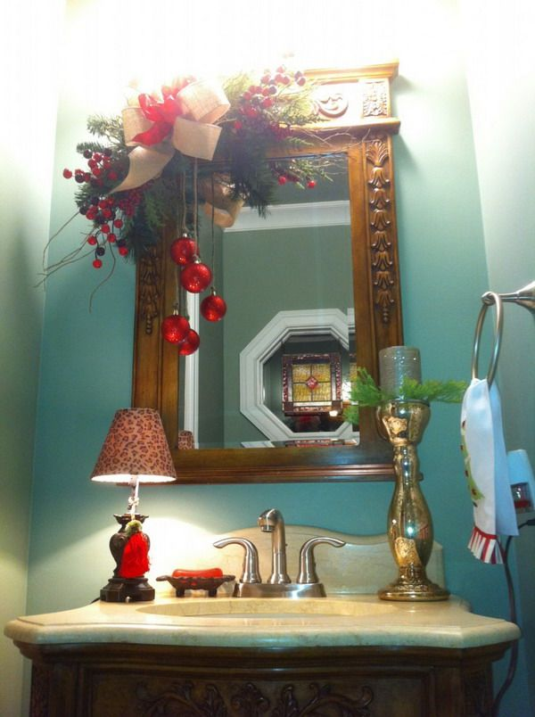 Christmas Bathroom Decor Mirror