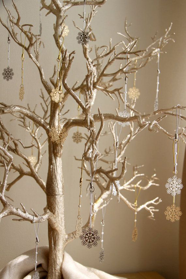 Snowflake Gold Silver Christmas Tree Ornaments