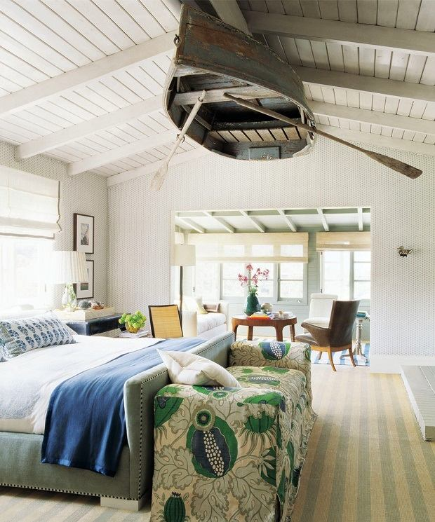 Beach Style Bedroom With Wooden Boat Ceiling Thewowdecor