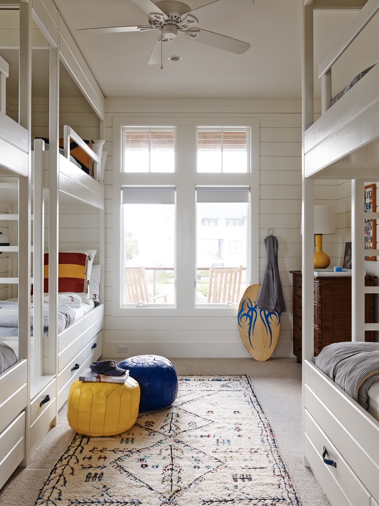 Beach Style Carpeted Kids Bedroom Thewowdecor