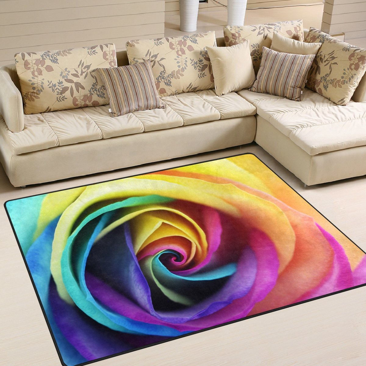 Colorful Rainbow Rose Flower Rug Thewowdecor