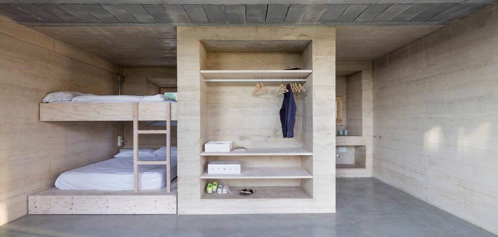 Modern Guest Concrete Floor Bedroom Thewowdecor