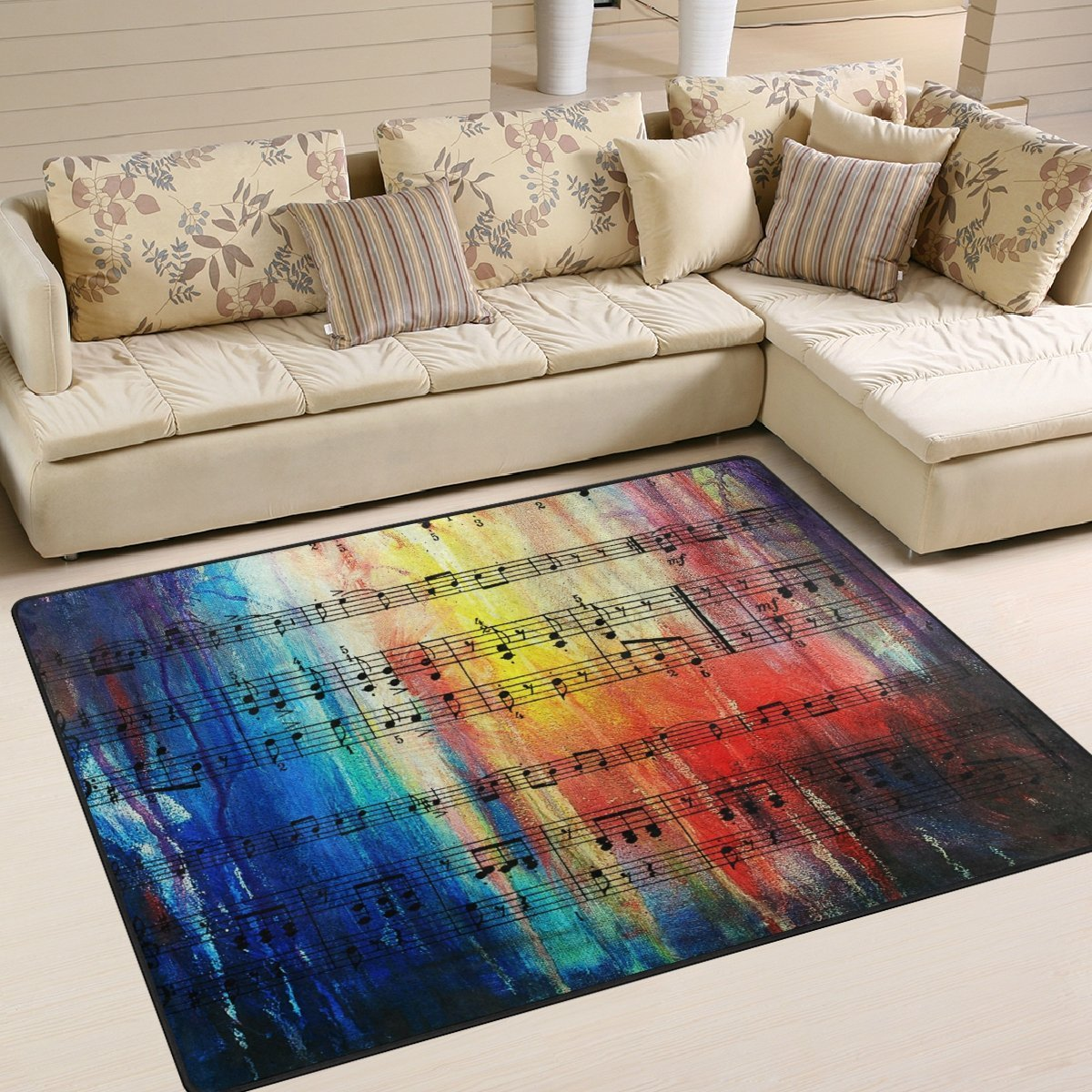 Music Note Polyester Rug Thewowdecor