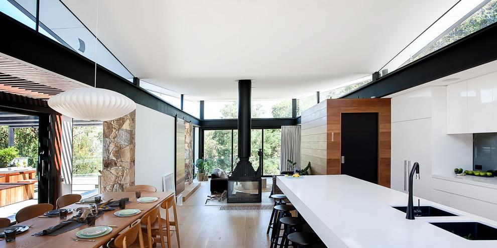 Contemporary Kitchen Black Fireplace Mantel