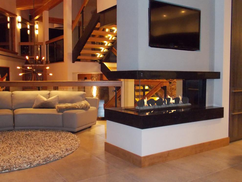 Contemporary Living Room Fake Fireplace Mantel