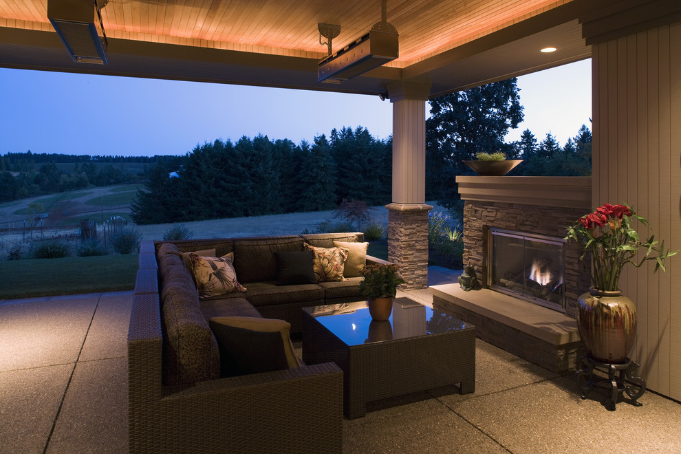 Covered Patio Fake Fireplace