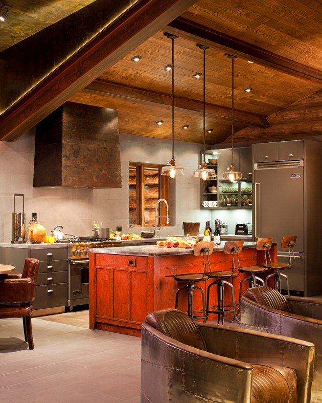 Red-island-Industrial-Kitchen-Interior