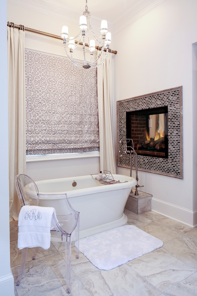Transitional Bathroom With Fireplace Over Bathtub