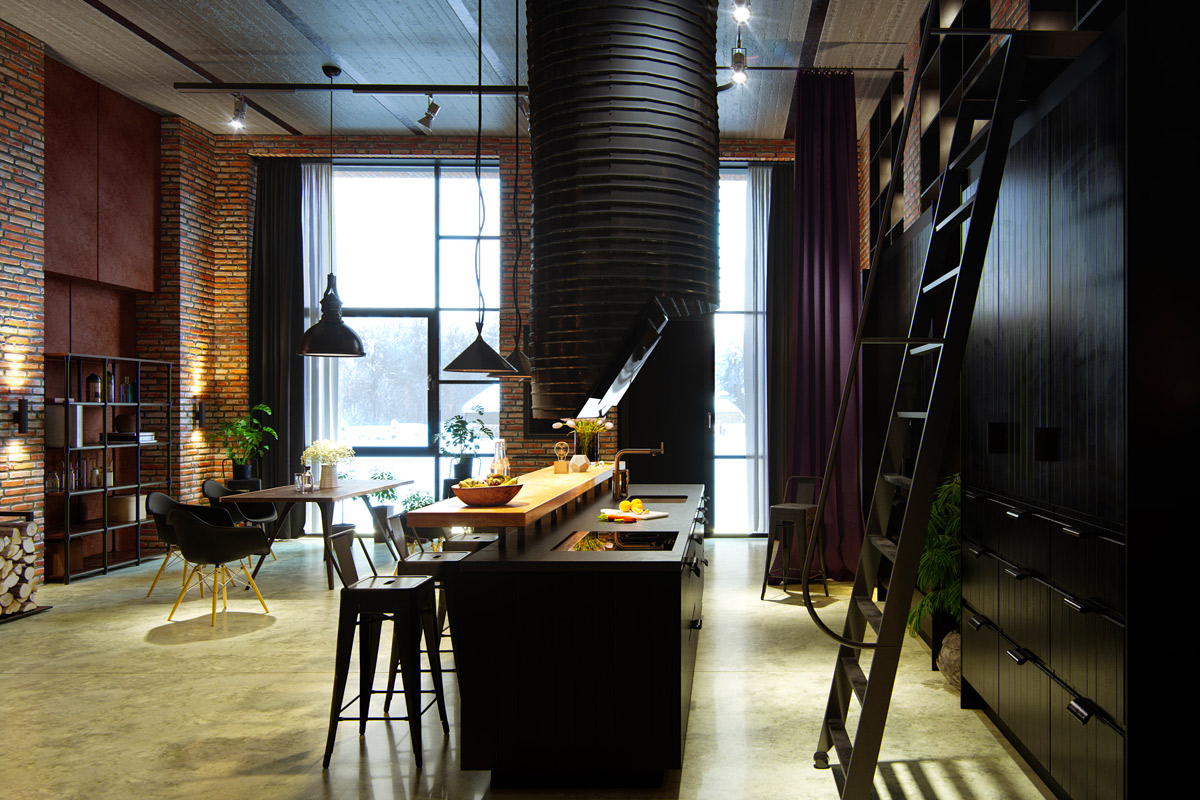 kitchen-industrial-black-accents