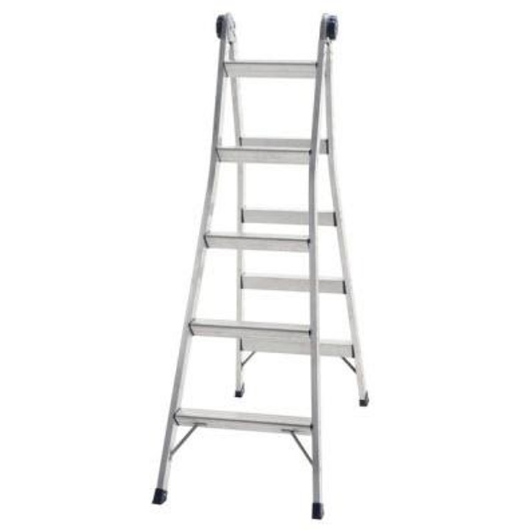 A tall ladder that has a seating option