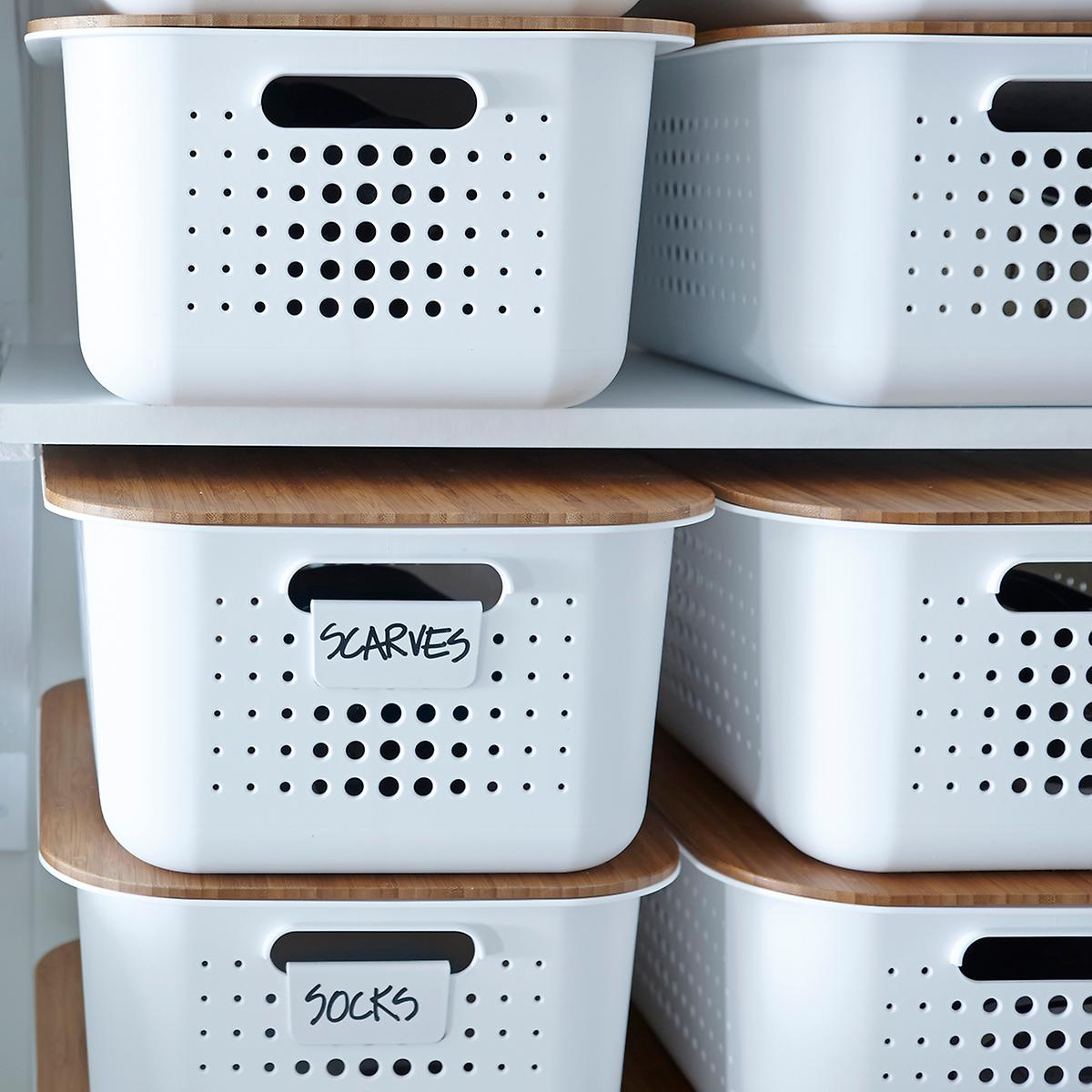 Storage Baskets With Handles on the Shelves