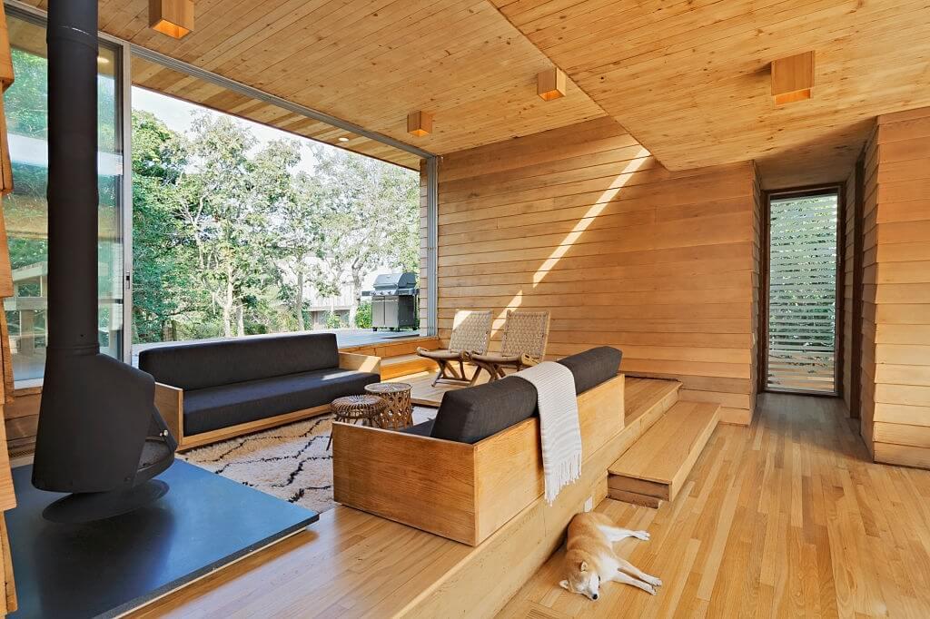 Wooden deck plank ceilings