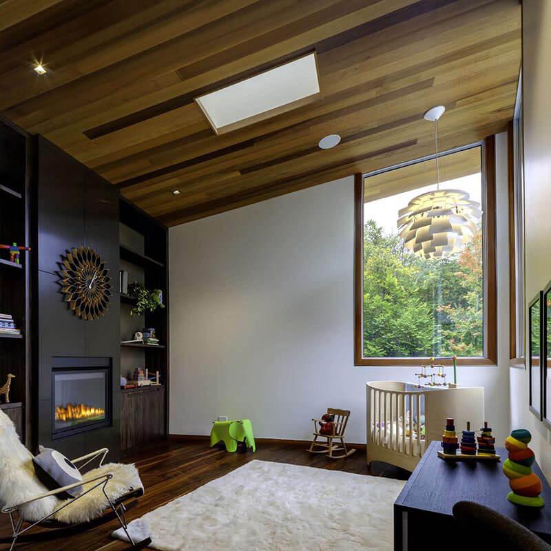 Dark wood ceilings