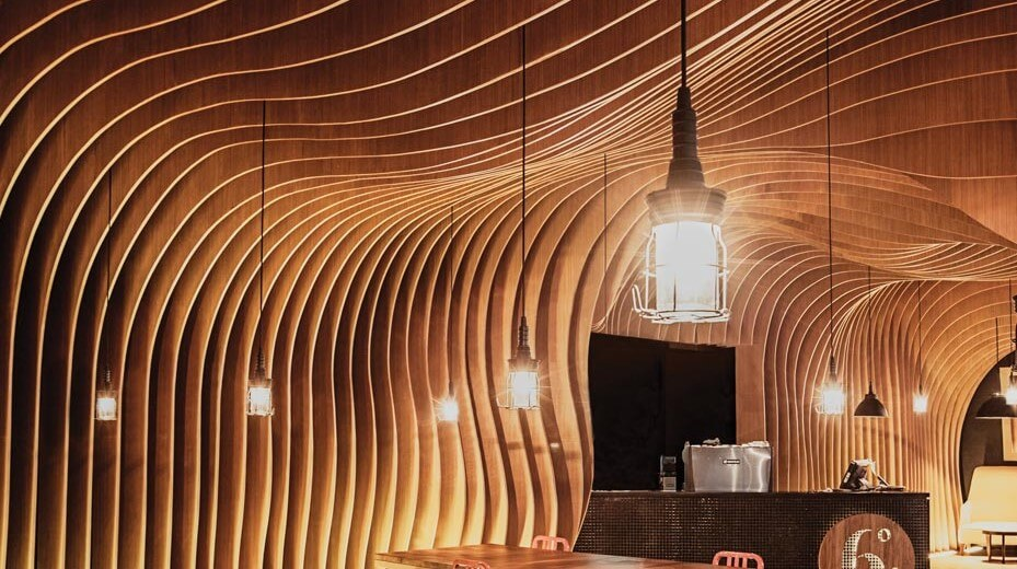 A sculpted wooden ceiling