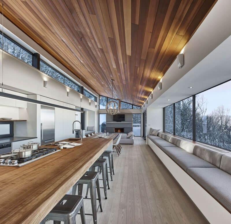 Sloped wooden ceiling