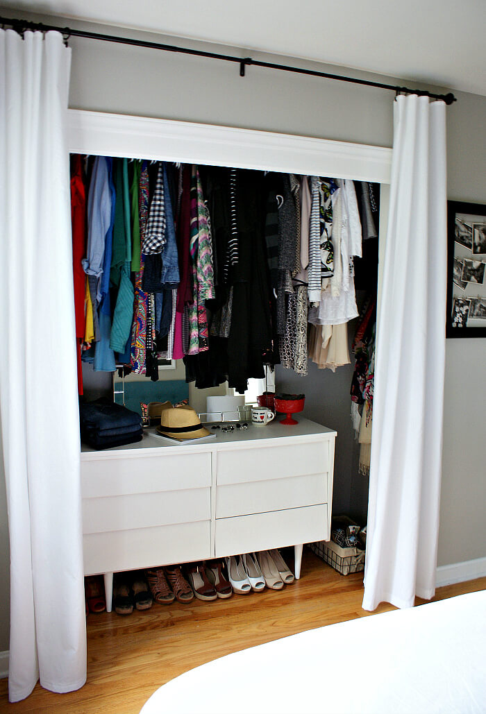 Dressing room with curtains
